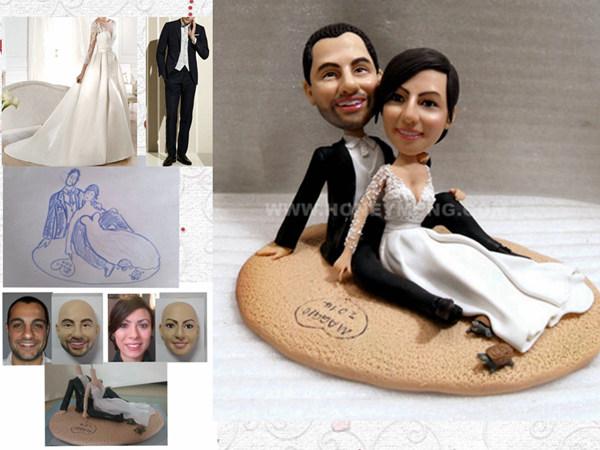 Wedding Statue Gifts: Custom Cake Toppers Figurines Sandbeach, My Face Custom