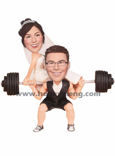 Personalized Cake Toppers Figurines Weightlifting